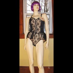 e87211354 Vintage Intimates   Sleepwear - VTG SEXY GOTH Sheer Black Lace Nylon Teddy  NWT